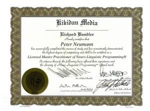 Zertifikat - NLP-Master der Society of NLP - Peter Neumann