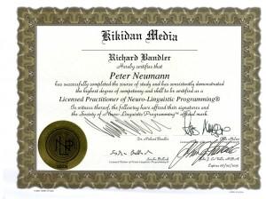 Zertifikat - NLP-Practitioner der Society of NLP - Peter Neumann