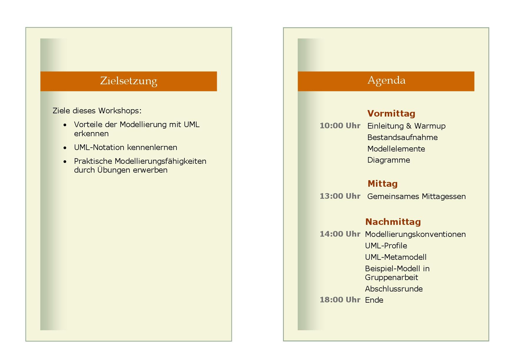 Modellierung mit UML - Zielsetzung & Agenda
